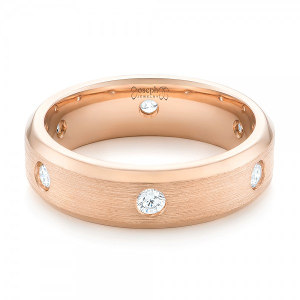 custom rose gold diamond mens wedding band laying view