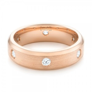 Custom Rose Gold Diamond Men's Wedding Band