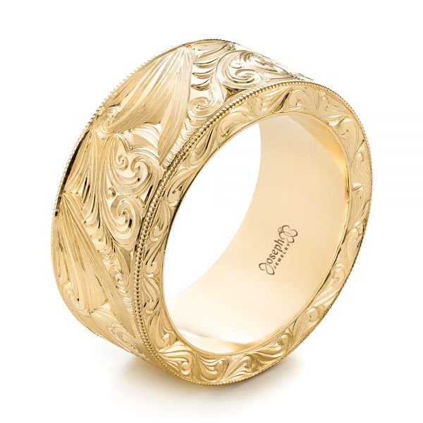 14k Yellow Gold 14k Yellow Gold Custom Hand Engraved Wedding Band - Three-Quarter View -