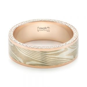 Custom Rose Gold Mokume Men's Band