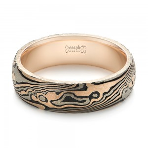 Custom Sandblasted Domed Mokume Men's Band