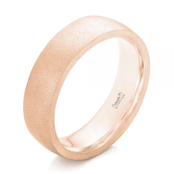 14k Rose Gold 14k Rose Gold Custom Sandblasted Men's Wedding Band - Three-Quarter View -  103207