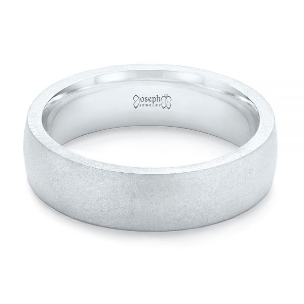 14k White Gold Custom Sandblasted Men's Wedding Band - Flat View -