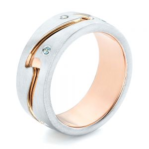 Custom Two-Tone Aquamarine Men's Wedding Band - Image