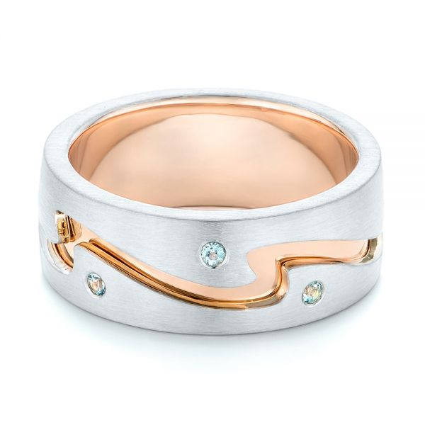 14K Gold And 14k Rose Gold Custom Two-tone Aquamarine Men's Wedding Band - Flat View -