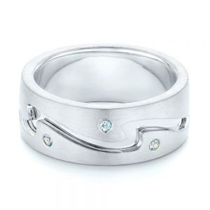 Custom Two-Tone Aquamarine Men's Wedding Band
