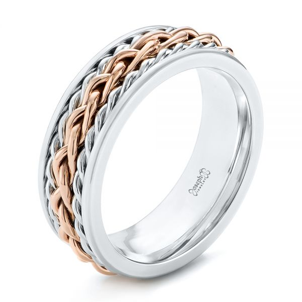 custom two tone braided mens band - Mens Platinum Wedding Rings