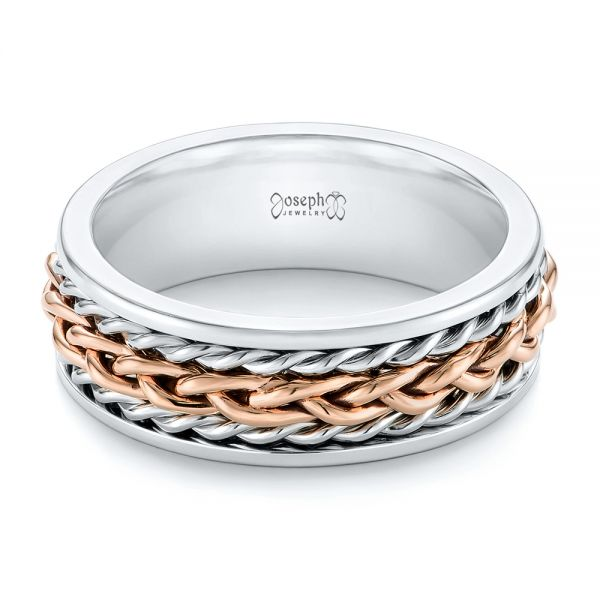 Platinum And 14k Rose Gold Custom Two-tone Braided Men's Band - Flat View -