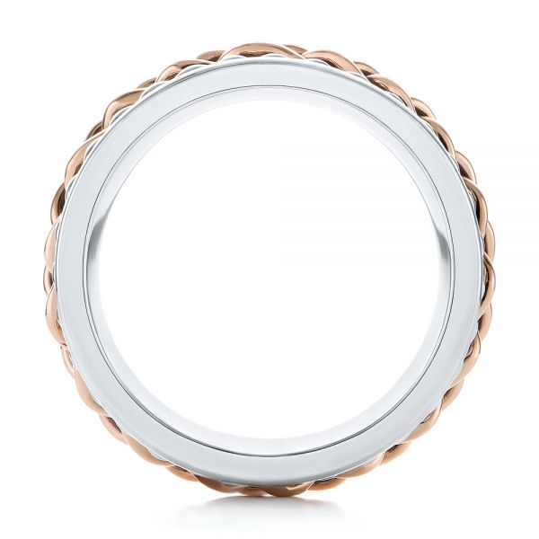 Platinum And 14k Rose Gold Custom Two-tone Braided Men's Band - Front View -