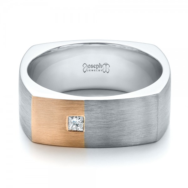 Custom Two-Tone Brush Finished Square Men's Band - Laying View