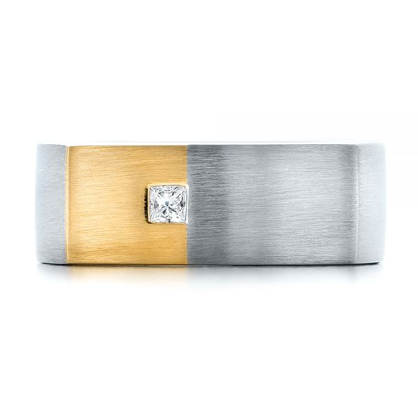 Platinum & 18K Yellow Gold Custom Two-Tone Brush Finished Square Men's Band - Top View -  100811 - Thumbnail