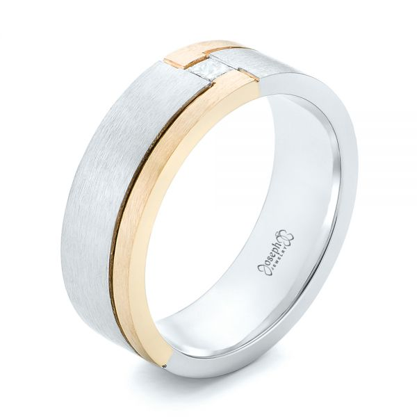 Custom Two-Tone Brushed Diamond Wedding Band - Image