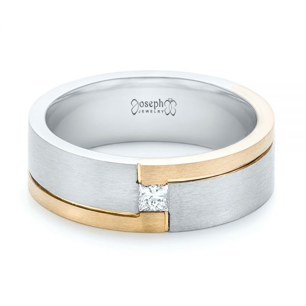 Custom Two-Tone Brushed Diamond Wedding Band - Flat View -  102991 - Thumbnail