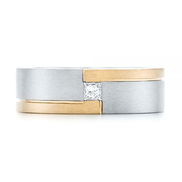 Custom Two-Tone Brushed Diamond Wedding Band - Top View -  102991 - Thumbnail