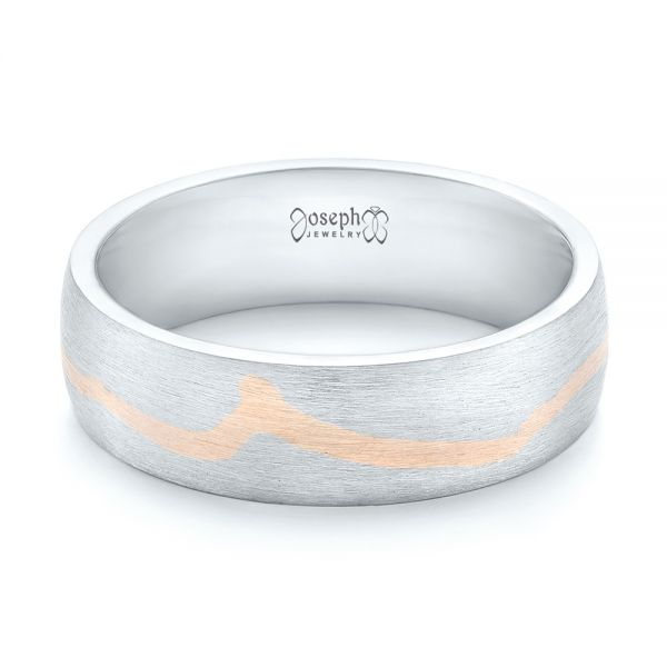 Platinum And 14k Rose Gold Platinum And 14k Rose Gold Custom Two-tone Brushed Men's Band - Flat View -