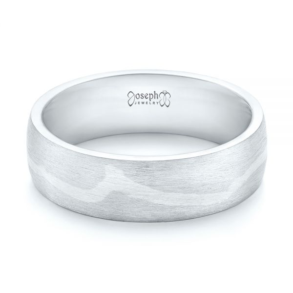 Platinum And 18k White Gold Platinum And 18k White Gold Custom Two-tone Brushed Men's Band - Flat View -