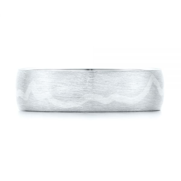 Platinum And 18k White Gold Platinum And 18k White Gold Custom Two-tone Brushed Men's Band - Top View -