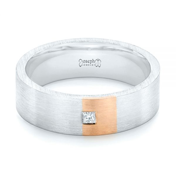 Platinum And 18k Rose Gold Custom Two-tone Diamond Mens Band - Flat View -