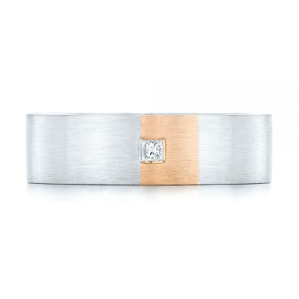 Platinum And 18k Rose Gold Custom Two-tone Diamond Mens Band - Top View -