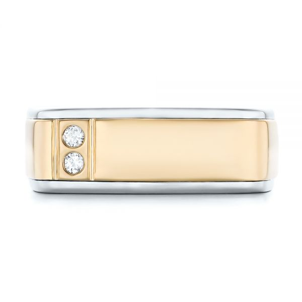 14K Gold And 14k Yellow Gold Custom Two-tone Diamond Men's Band - Top View -