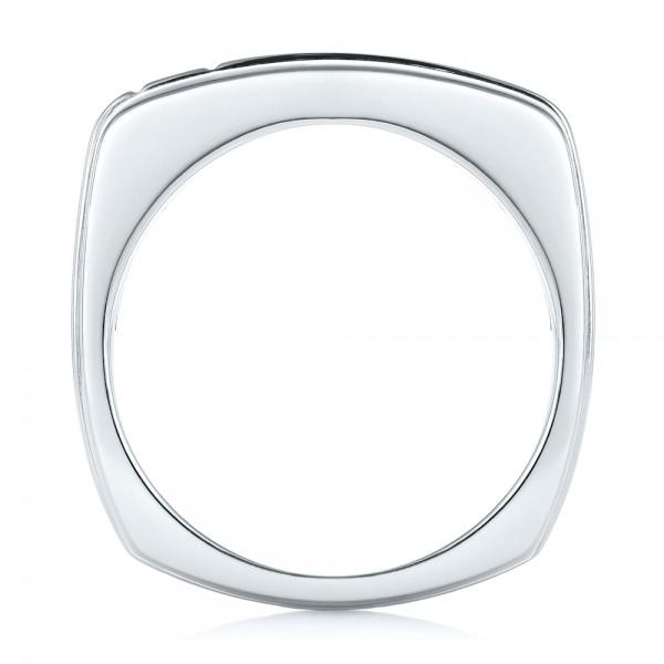 Custom Two-Tone Diamond Men's Band - Finger Through View
