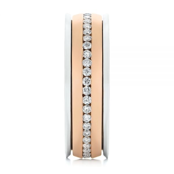 Platinum And 14k Rose Gold Custom Two-tone Eternity Diamond Men's Band - Side View -