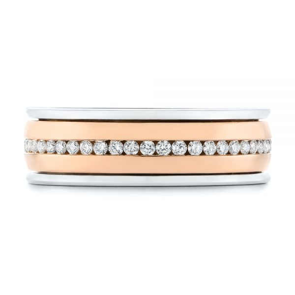 Platinum And 14k Rose Gold Custom Two-tone Eternity Diamond Men's Band - Top View -