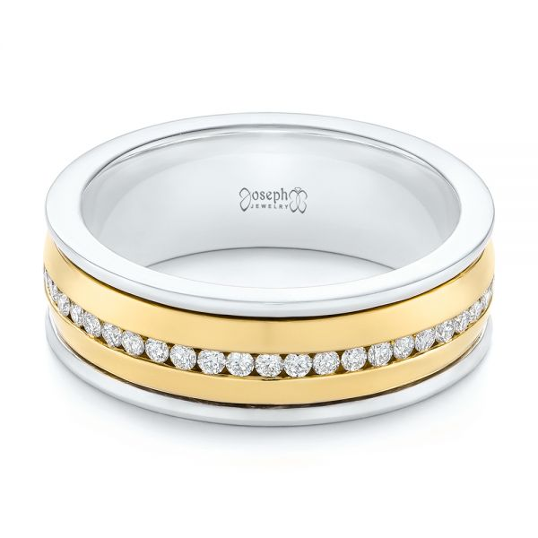 Platinum And 14k Yellow Gold Platinum And 14k Yellow Gold Custom Two-tone Eternity Diamond Men's Band - Flat View -