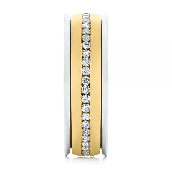 Platinum And 14k Yellow Gold Platinum And 14k Yellow Gold Custom Two-tone Eternity Diamond Men's Band - Side View -