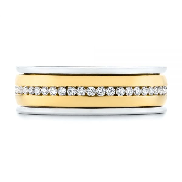 Platinum And 14k Yellow Gold Platinum And 14k Yellow Gold Custom Two-tone Eternity Diamond Men's Band - Top View -