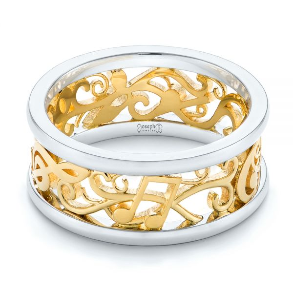 Platinum And 18k Yellow Gold Custom Two-tone Filigree Men's Band - Flat View -