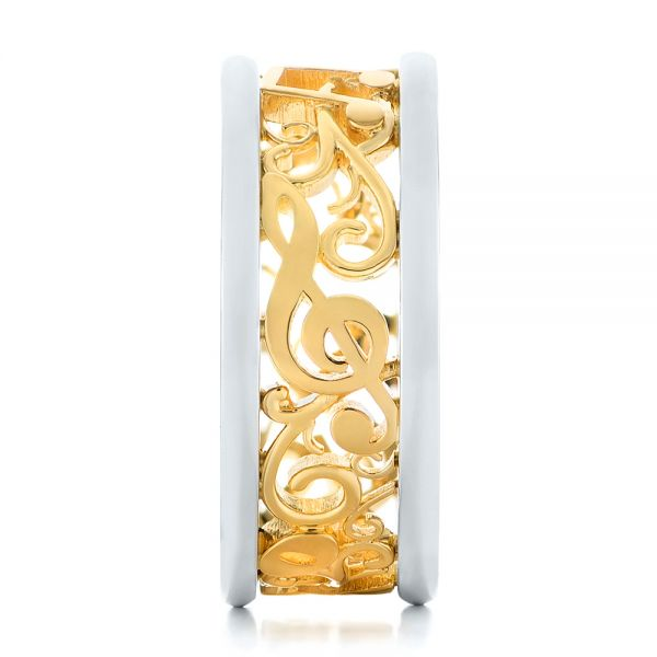 Platinum And 18k Yellow Gold Custom Two-tone Filigree Men's Band - Side View -