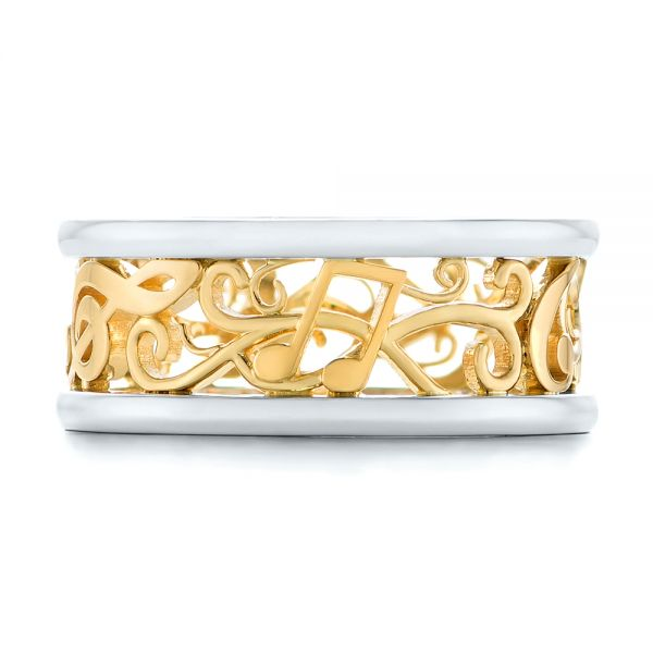Platinum And 18k Yellow Gold Custom Two-tone Filigree Men's Band - Top View -
