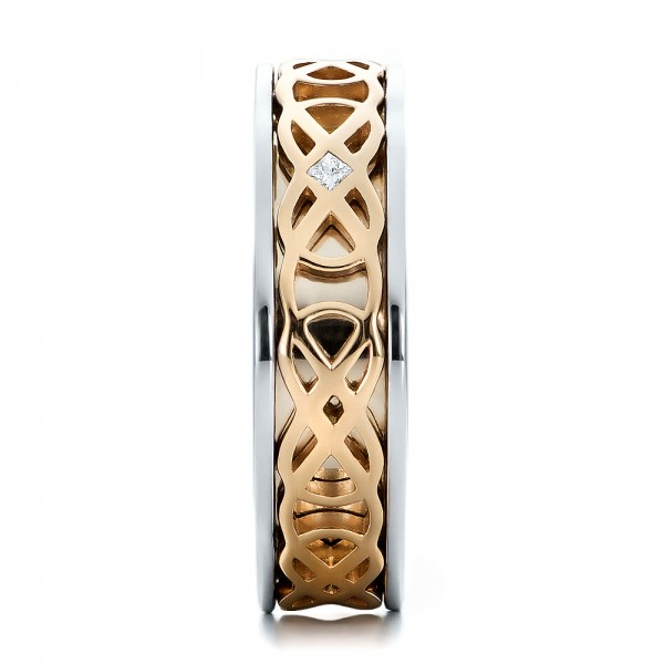 Custom Two-Tone Gold Woven Inlay Men's Band - Side View