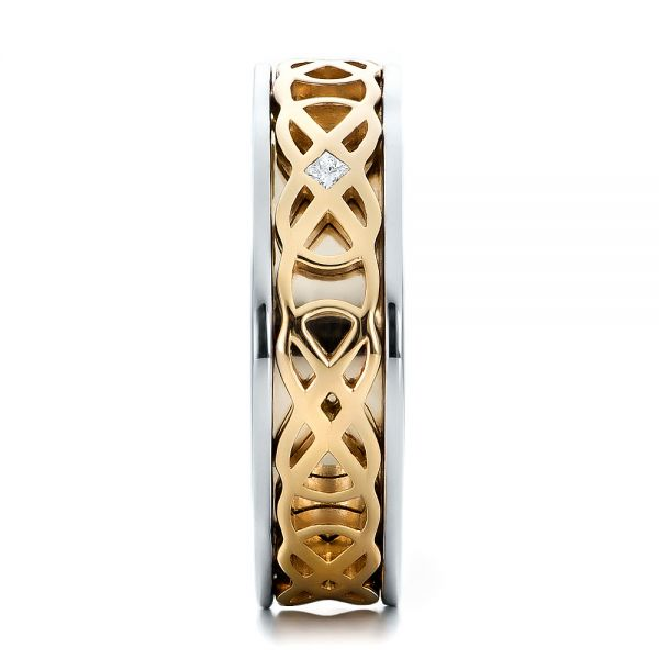 14K Gold And 14k Yellow Gold 14K Gold And 14k Yellow Gold Custom Two-tone Woven Inlay Mens Band - Side View -