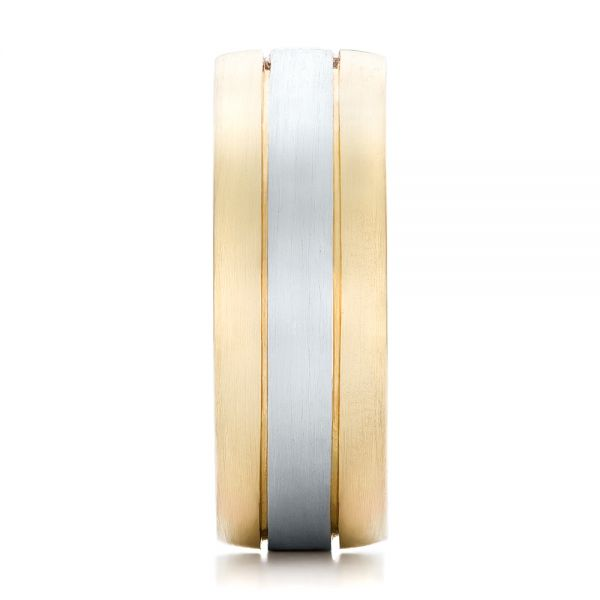 14k Yellow Gold And Platinum Custom Two-tone Men's Band - Side View -