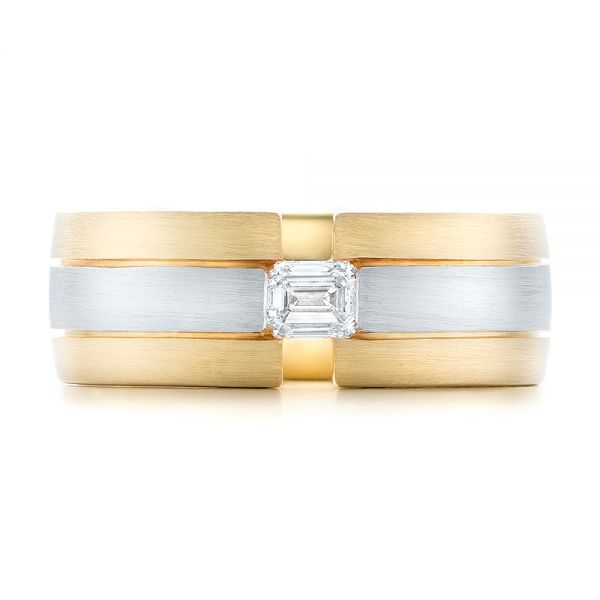14k Yellow Gold And Platinum Custom Two-tone Men's Band - Top View -
