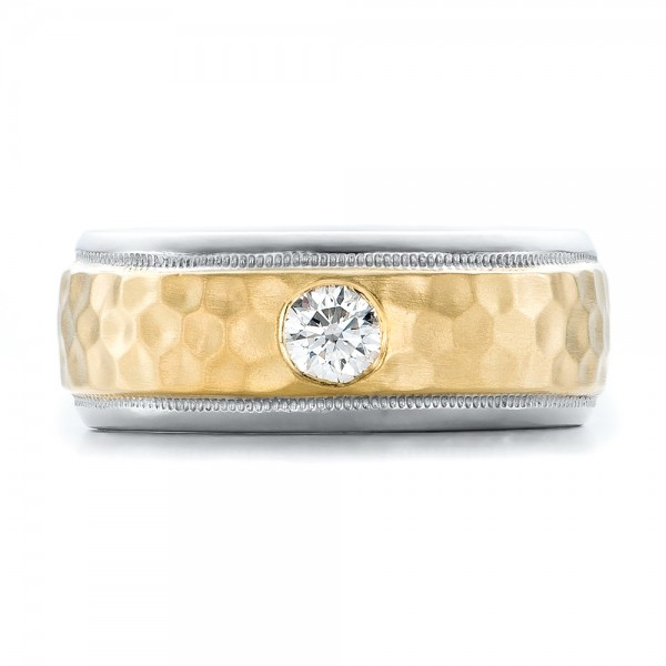 Custom Two-Tone Hammered Finish and Diamond Men's Band - Top View