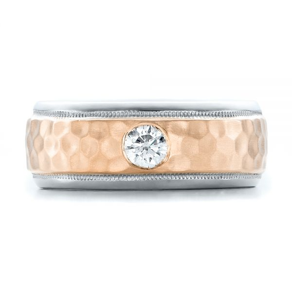 Platinum And 14k Rose Gold Platinum And 14k Rose Gold Custom Two-tone Hammered Finish And Diamond Men's Band - Top View -