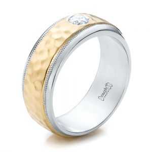 Custom Two-Tone Hammered Finish and Diamond Men's Band - Image