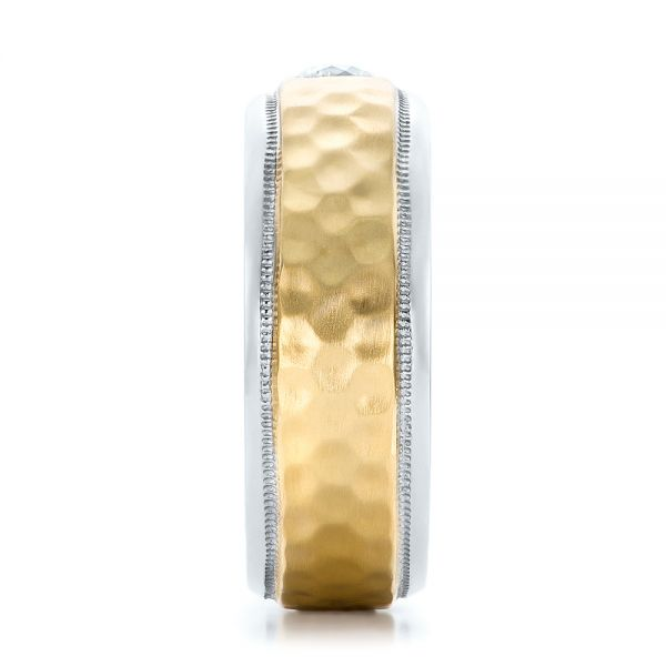 Platinum And 18k Yellow Gold Custom Two-tone Hammered Finish And Diamond Men's Band - Side View -