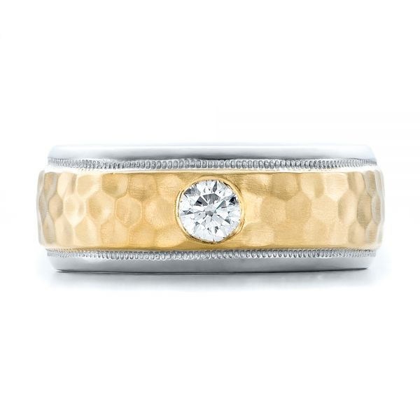 Platinum And 18k Yellow Gold Custom Two-tone Hammered Finish And Diamond Men's Band - Top View -