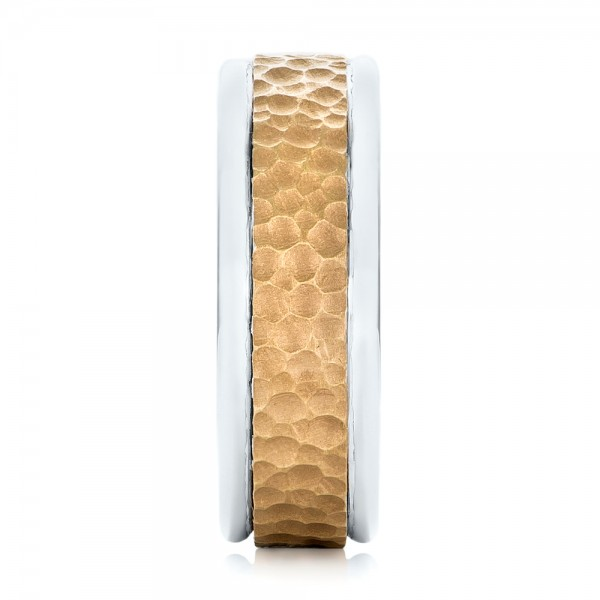 Custom Two-Tone Hammered Men's Band - Side View