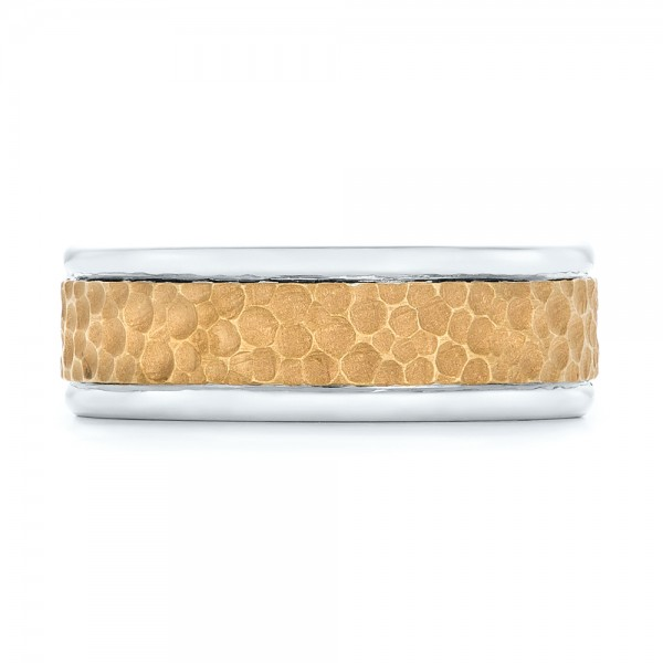 Custom Two-Tone Hammered Men's Band - Top View
