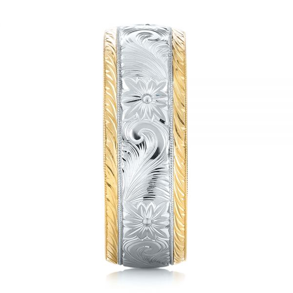 Custom Two-Tone Hand Engraved Men's Band - Side View -  103348 - Thumbnail