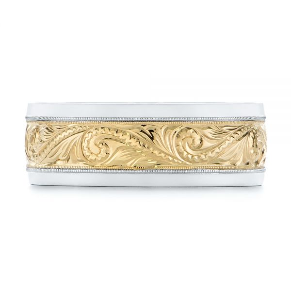 14K Gold And Yellow Gold 14K Gold And Yellow Gold Custom Two-tone Hand Engraved Men's Band - Top View -
