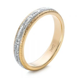 Custom Two-Tone Hand Engraved Men's Wedding Band - Image
