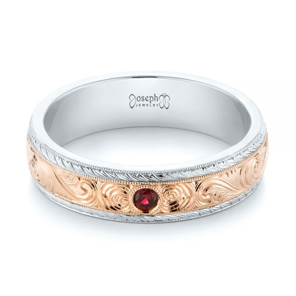 14K Gold And 14k Rose Gold Custom Two-tone Hand Engraved Ruby Mens Band - Flat View -