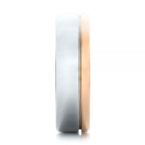 14K Gold And 14k Rose Gold Custom Two-tone Mens Band - Side View -