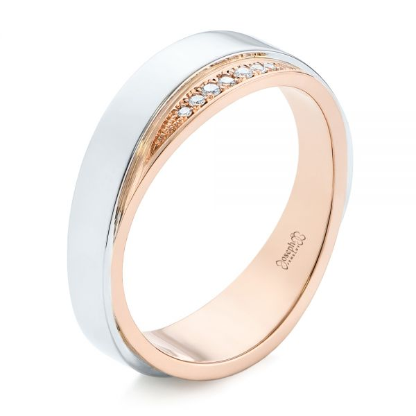 Custom Two-Tone Men's Diamond Wedding Band - Image